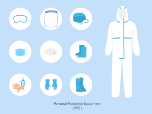 Graphic showing the different types of personal protective equipment, such as goggles, full body suit, face covering and more.