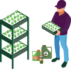 Cultivator with trays of plants and bottles of herbicide to prevent powdery mildew